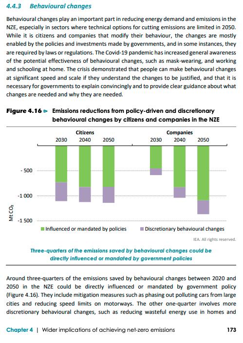 IEA Net Zero by 2050 - Behavioral Changes p. 173