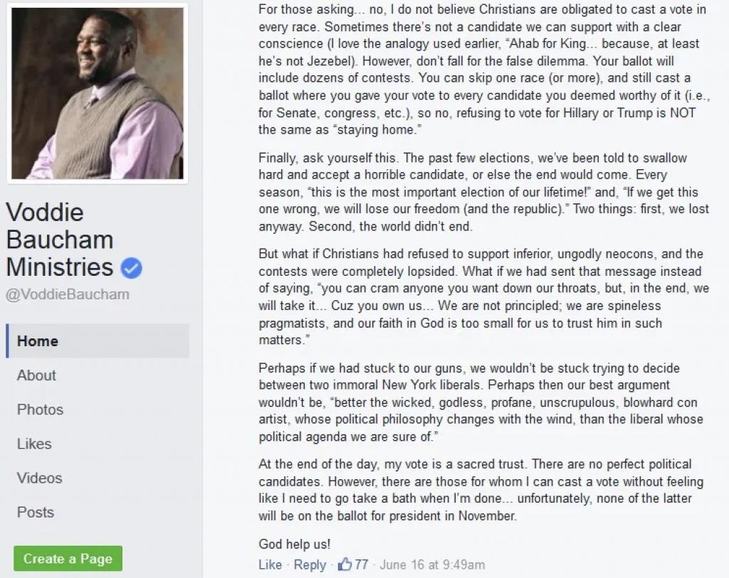 Post from Voddie Baucham ministry page
