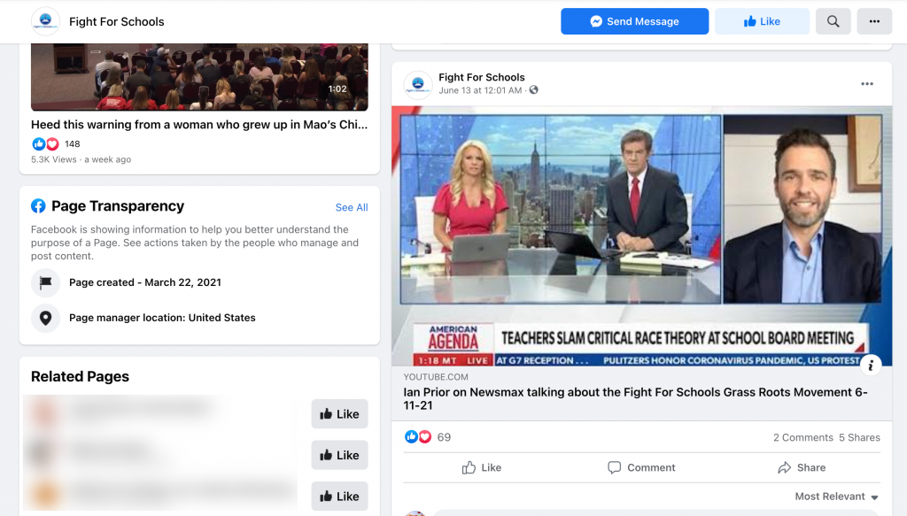 image of facebook page