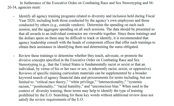 Russ Vought memorandum on critical race theory training divisive concepts