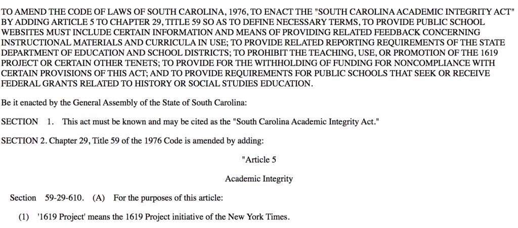 South Carolina banning 1619 project