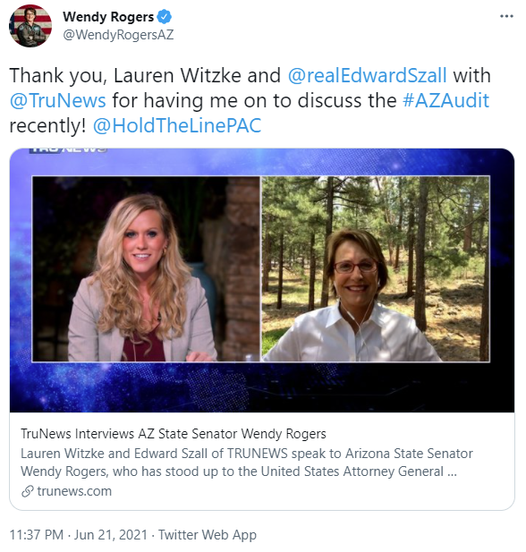 Wendy Rogers thanks TruNews and Lauren Witzke in a tweet