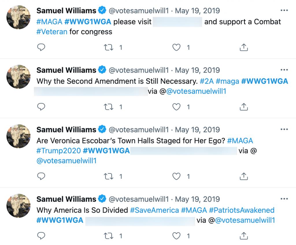 Samuel Williams QAnon Twitter