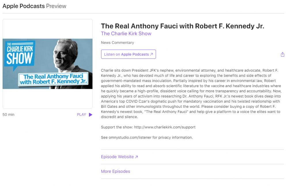 Charlie Kirk Podcast on Apple
