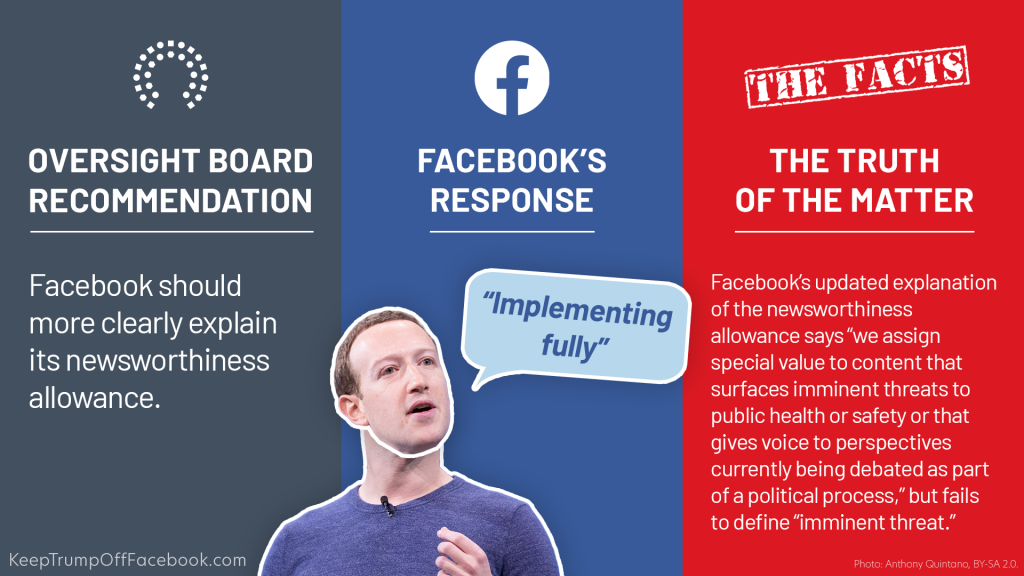 """Recommendation #10: """"Facebook should document any exceptional processes that apply to influential users.""""  Facebook's response: """"Our Community Standards apply around the world to all types of content and are designed so they can be applied consistently and fairly to a community that transcends regions, cultures, and languages. Today we are providing more information about our system of reviews for public figures' content, which includes our cross check process and newsworthiness allowance, in our Transpare"""