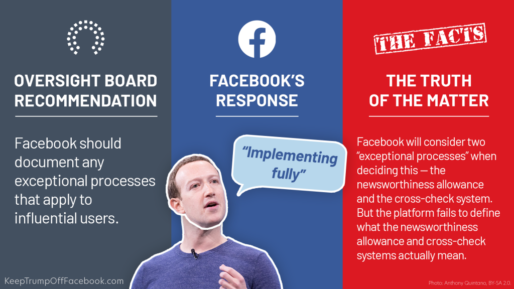 Text of recommendation and response from Facebook