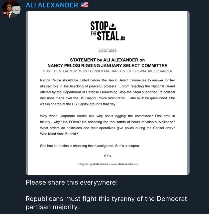 Ali Alexander press release Pelosi