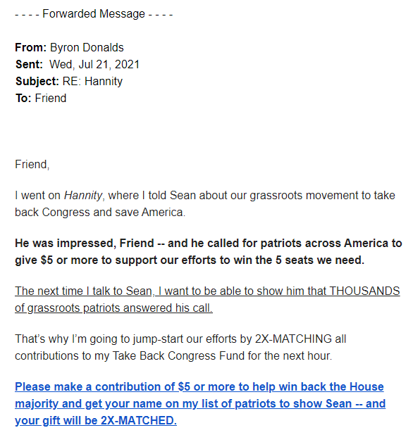 Rep. Byron Donalds July 26 email excerpt
