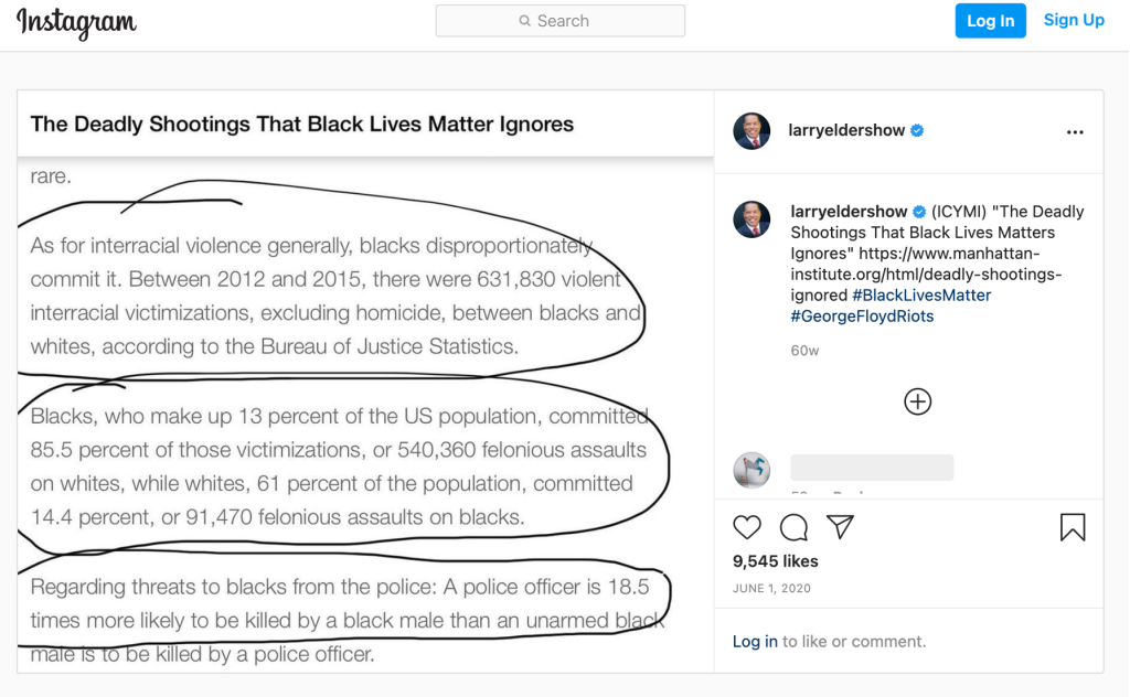 Larry Elder posted excerpts from a report by the Manhattan Institute on his Instagram