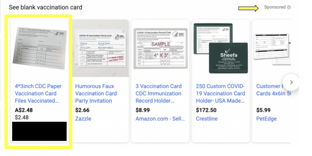 blank vaccination card