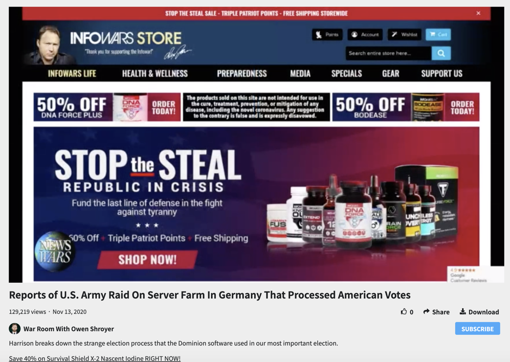 """Infowars tells viewers to """"stop the steal"""" by buying Infowars products"""