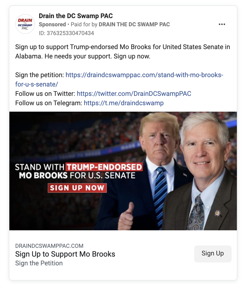 Facebook ad from Drain the DC Swamp PAC featuring Trump and Mo Brooks