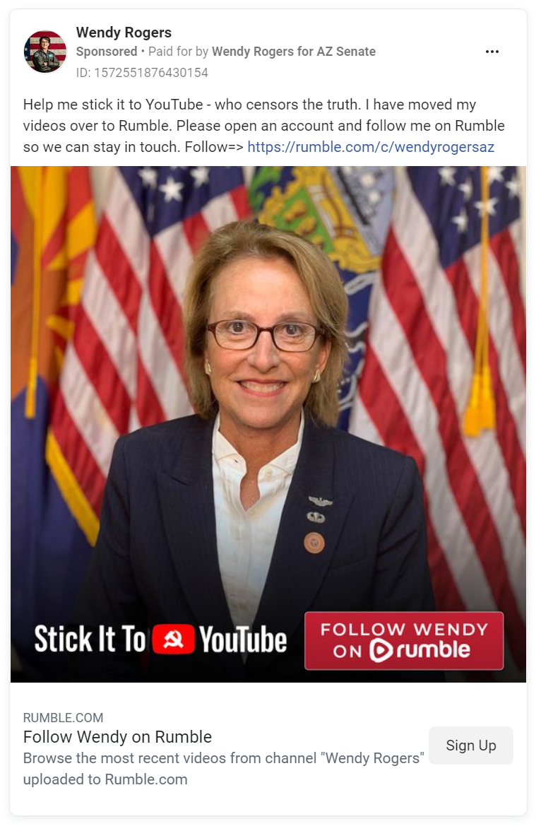 Facebook ad directing users to follow Wendy Rogers on Rumble