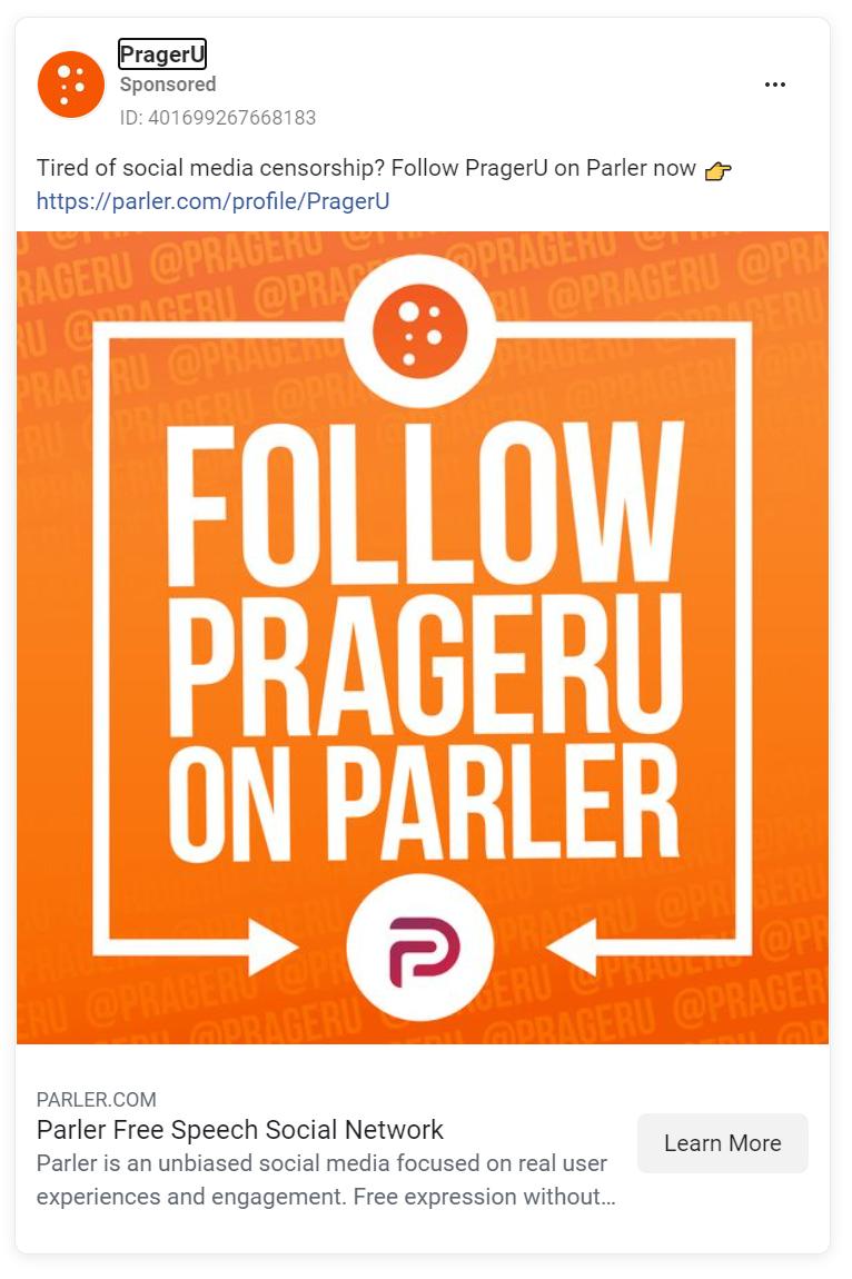 Facebook ad with white text over an orange background saying follow PragerU on Parler