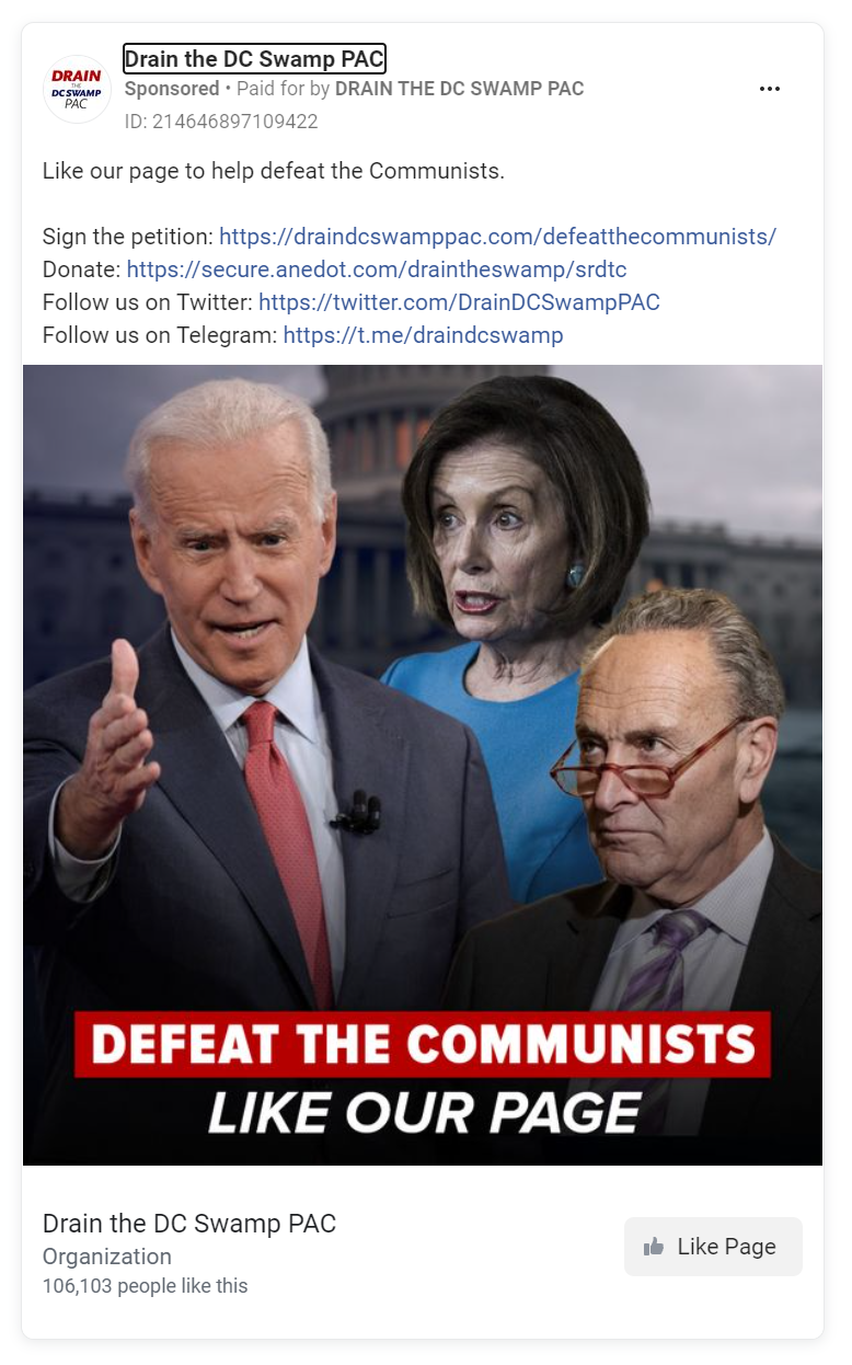 Facebook ad featuring Joe Biden, Nancy Pelosi, and Chuck Schumer with defeat the communists written over the bottom