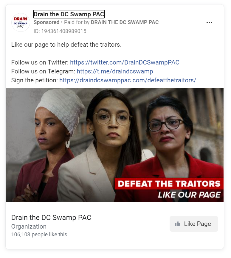 Facebook ad featuring Ilhan Omar, AOC, and Rashida Tlaib with the phrase defeat the traitors across the bottom