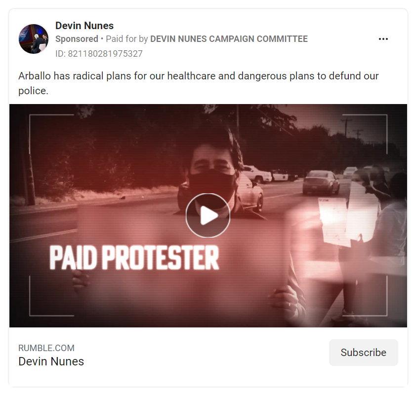 Facebook ad from Devin Nunes showing a video with the words paid protestor on it
