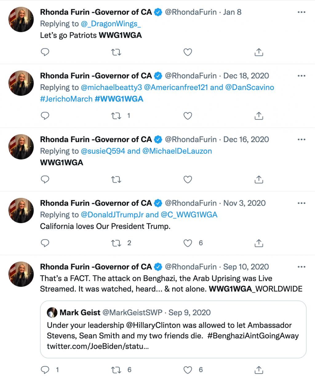 Rhonda Furin QAnon Twitter governor