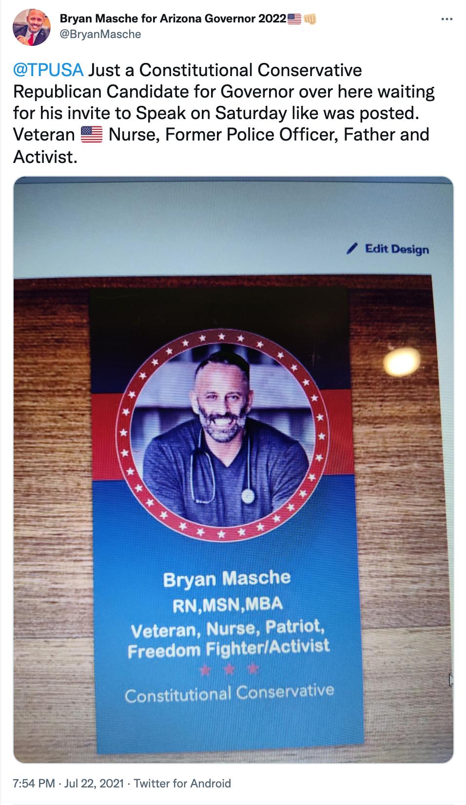 Bryan Masche 2022 campaign