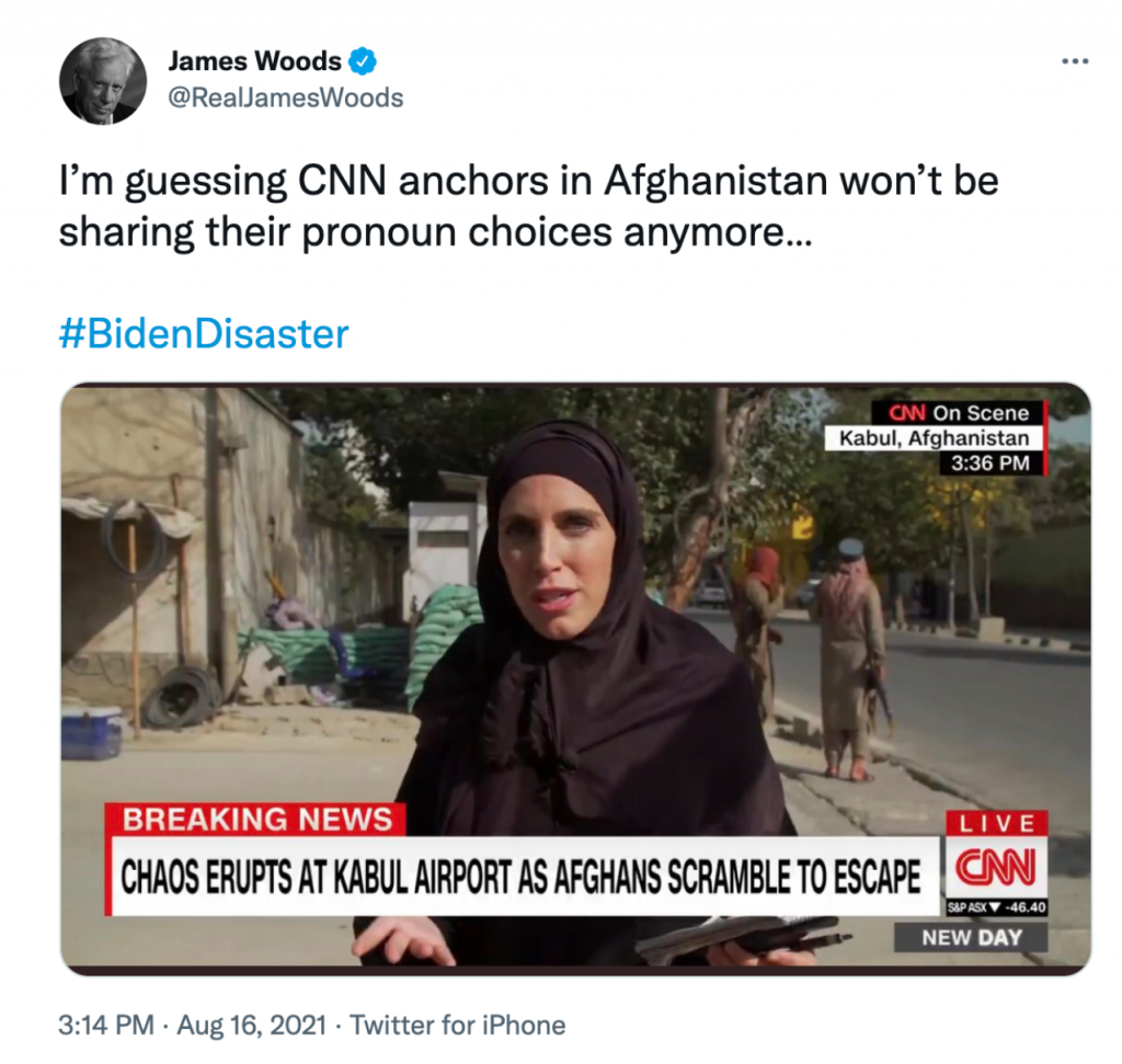 """James Woods tweets a screengrab from a CNN segment in Kabul with the caption """"I'm guessing CNN anchors in Afghanistan won't be sharing their pronoun choices anymore... #BidenDisaster"""""""