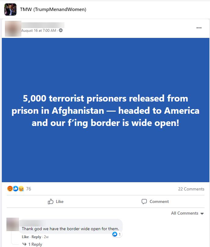 racist rhetoric about Afghan refugees