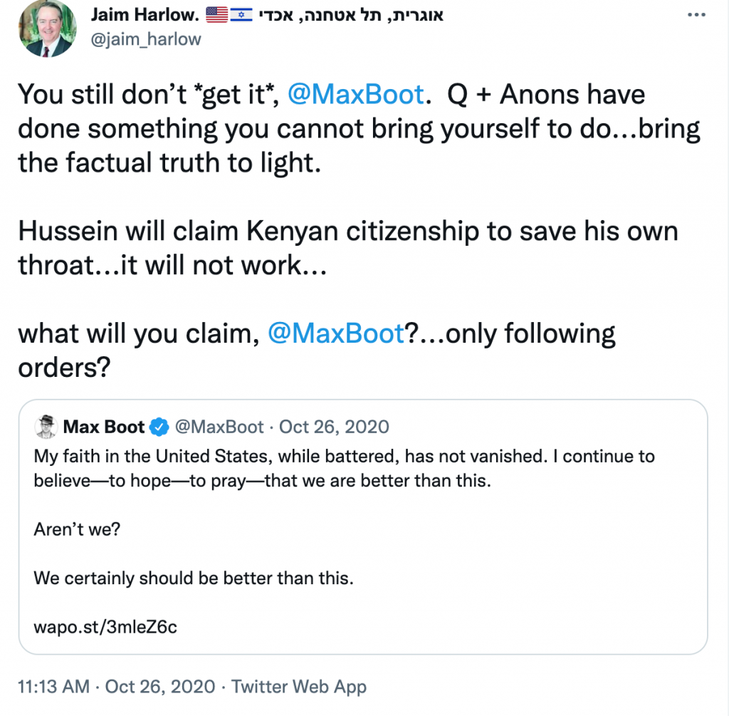 Jaim Harlow QAnon Twitter