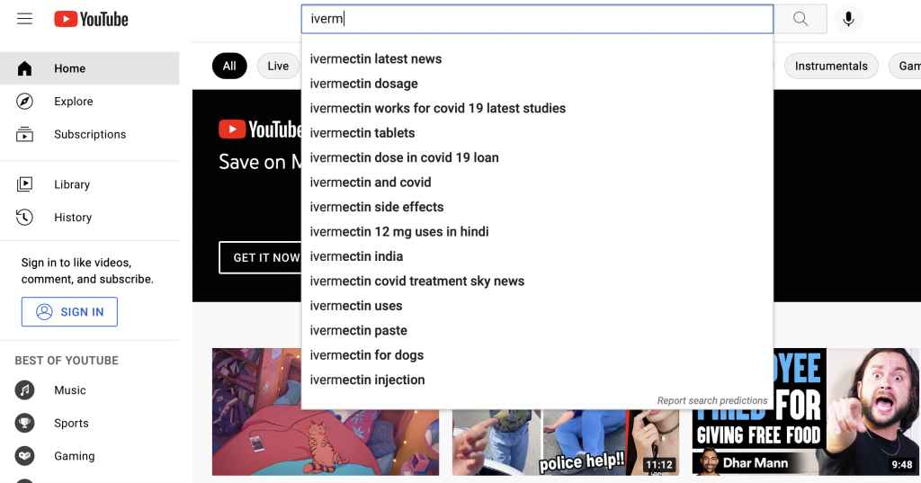 Screenshot of YouTube's search engine recommending covid and ivermectin