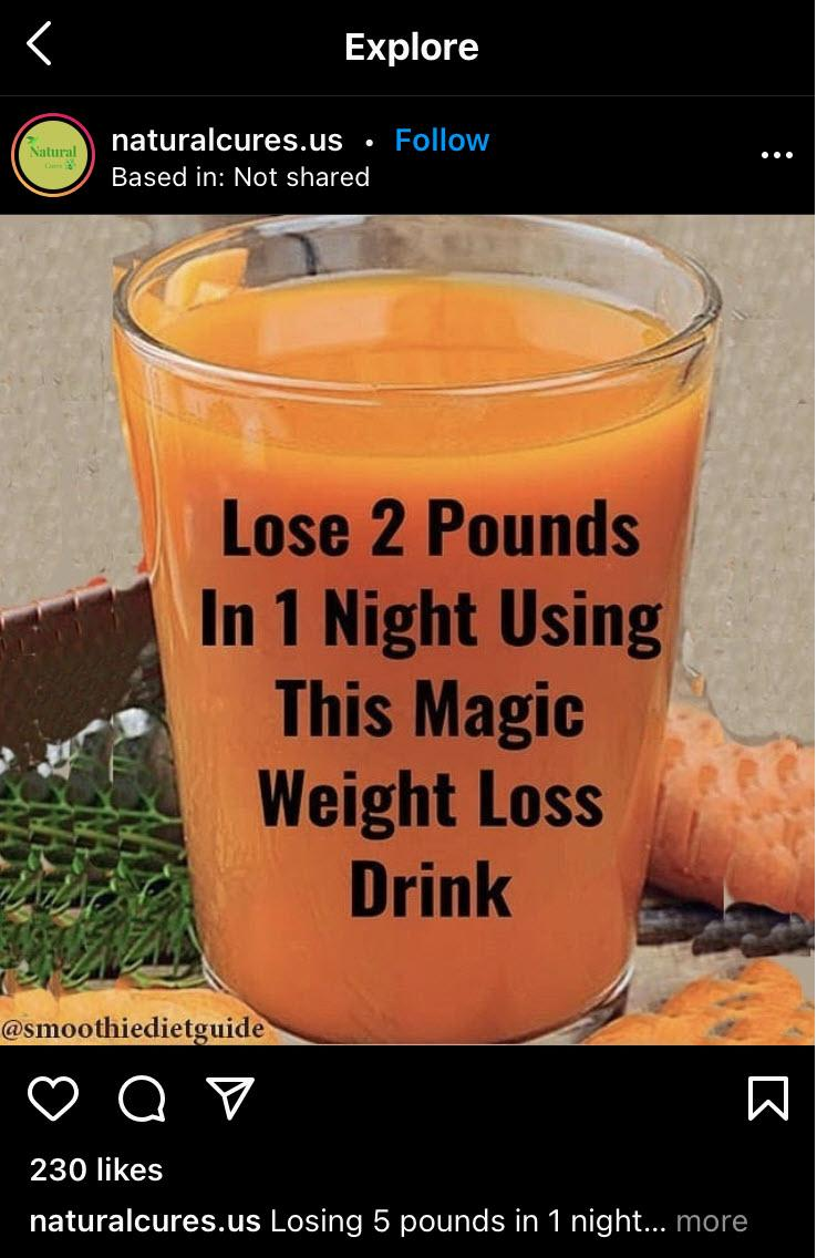 """An orange smoothie with the text """"Lose 2 pounds in 1 night using this magic weight loss drink"""""""