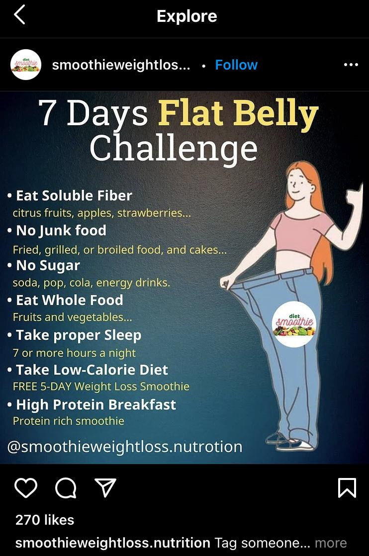 """A drawing of a woman who has lost weight with a list of weight loss tips next to her. Title says """"7 Day Flat Belly Challenge""""."""