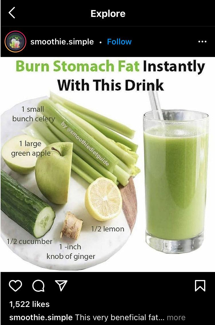"""A picture of smoothie ingredients and a green smoothie with the text """"burn stomach fat instantly with this drink"""""""