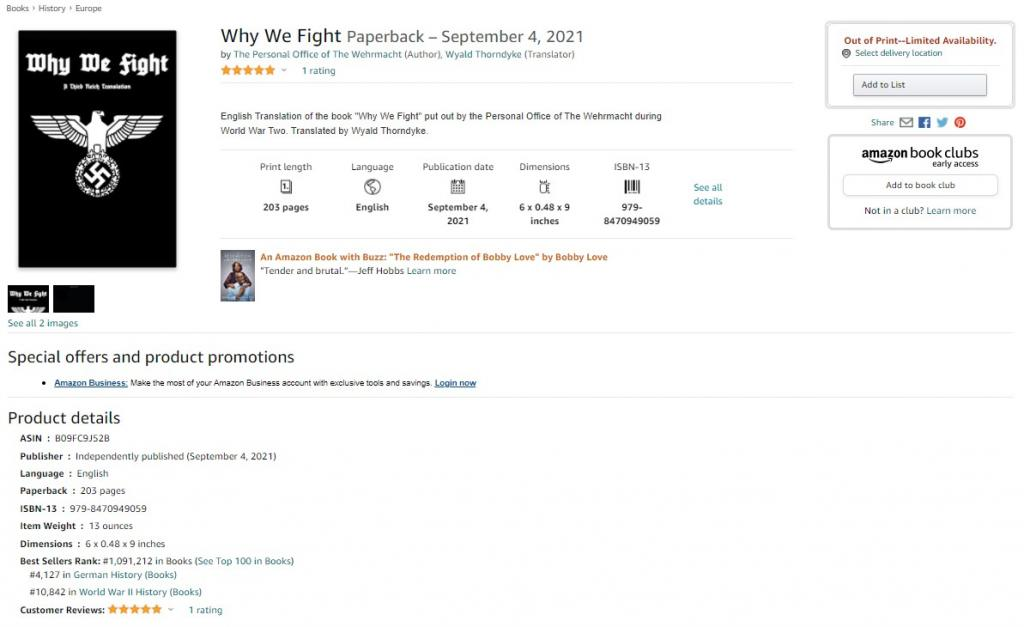 """Screenshot of Amazon listing for white nationalist book """"Why We Fight"""""""