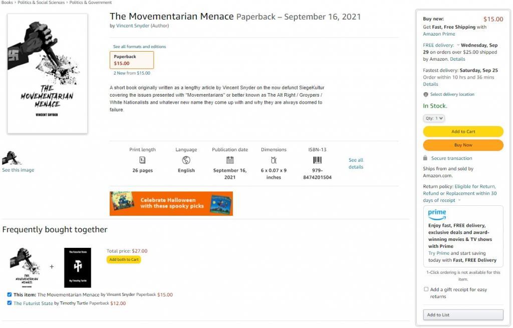 screenshot of Amazon list for The Movementarian Menace