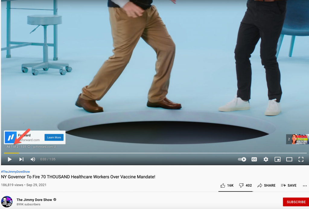 Natural immunity YouTube video ads