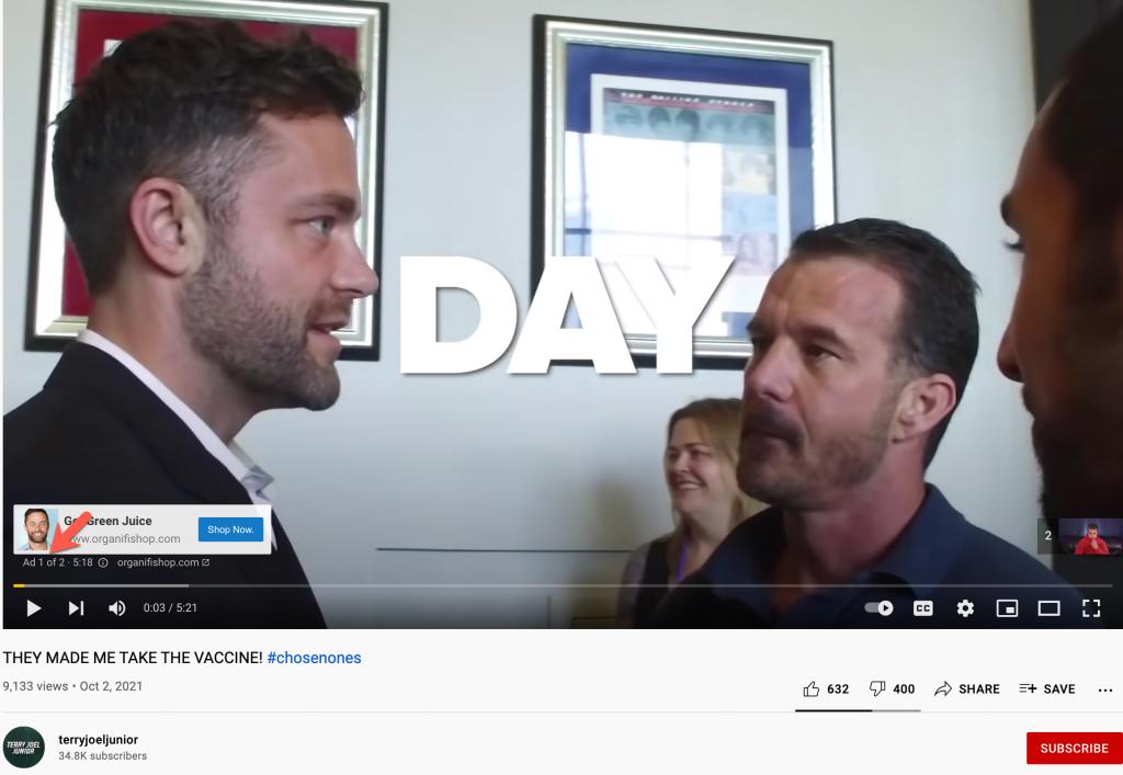 Vaccine video YouTube ads
