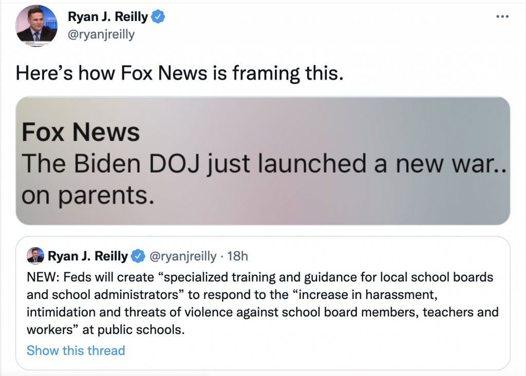 """Tweet about Fox news characterizing DOJ action about threats on school boards as a """"war on parents"""""""