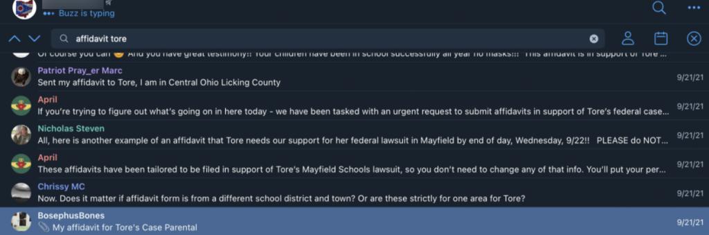Tore affidavits Ohio group2