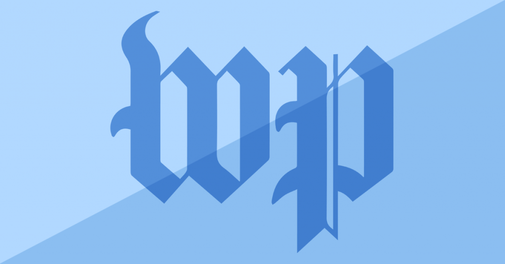 Washington Post logo with blue background